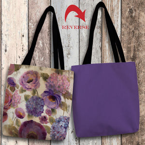 Blue and Purple Flower Song III Canvas Tote Bag
