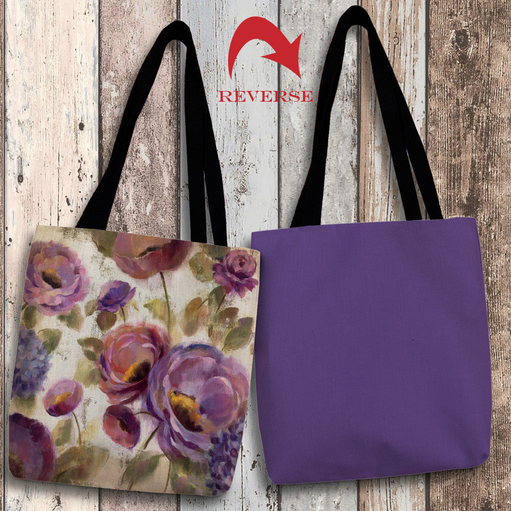 Blue and Purple Flower Song II Canvas Tote Bag