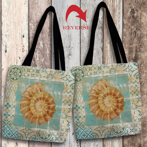 Shell Tiles I (Blue) Canvas Tote Bag
