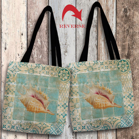 Shell Tiles II (Blue) Canvas Tote Bag