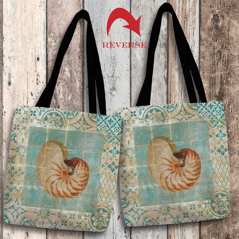 Shell Tiles III (Blue) Canvas Tote Bag