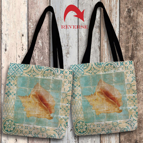 Shell Tiles IV (Blue) Canvas Tote Bag