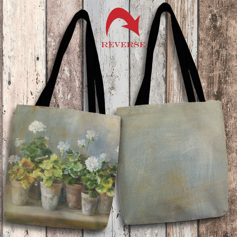 White Geraniums Canvas Tote Bag