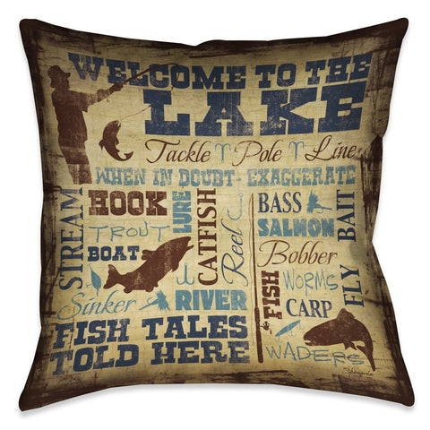 Welcome to the Lake Outdoor Decorative Pillow