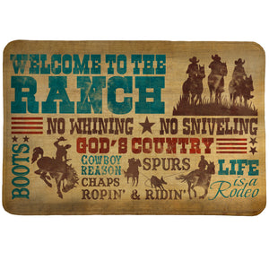 Welcome To The Ranch Memory Foam Rug has a western design with stylish typography speaking about simple country life.