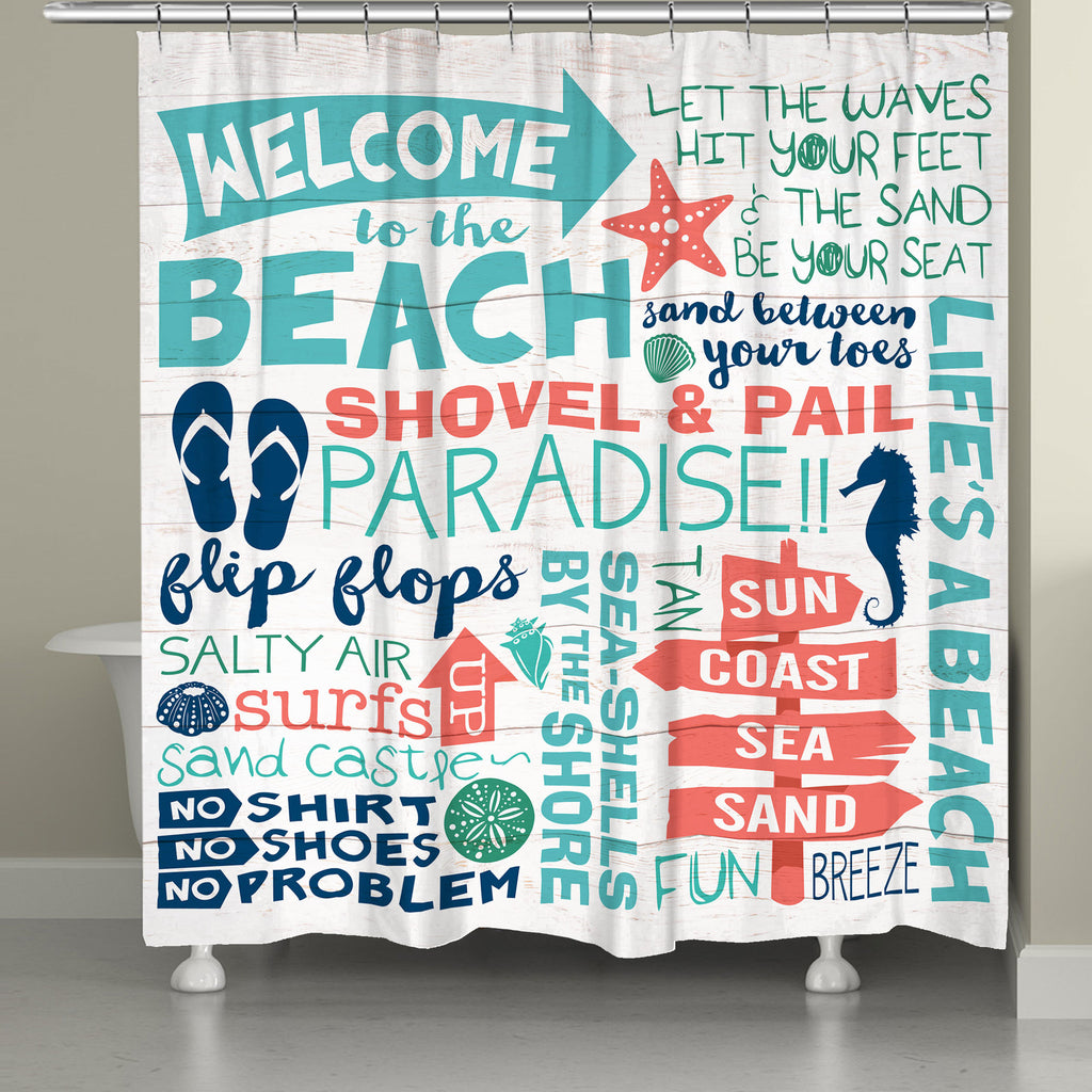 Welcome To The Beach Shower Curtain Laural Home
