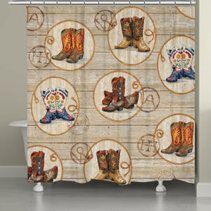 Western Boots Shower Curtain