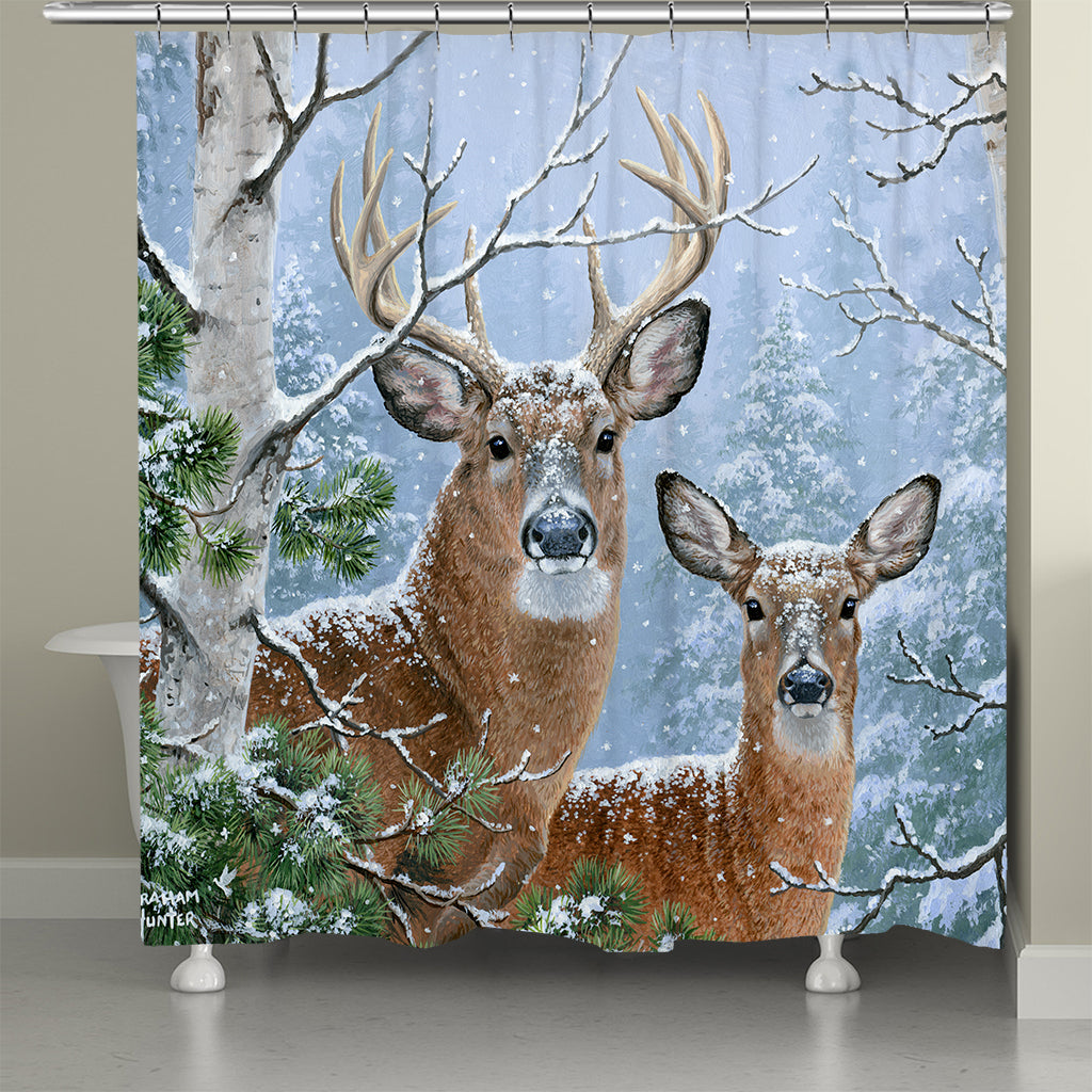 White Tail Winter Shower Curtain