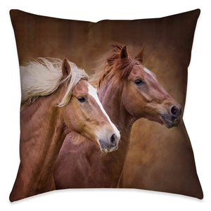 The Wild Stallion Indoor Decorative Pillow features a photo of two beautiful wild horses gracefully galloping side by side.