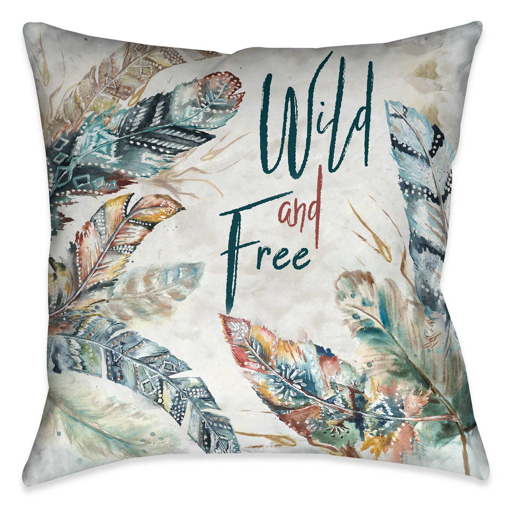 "Laural Home's ""Wild and Free Indoor Decorative Pillow"" features delicate watercolor inspired feathers with striking words. The sophisticated balance of design elements and soft movement is sure to bring the bohemian spirit to your living space."