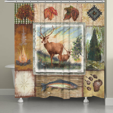 Deer in Wilderness Collage Shower Curtain