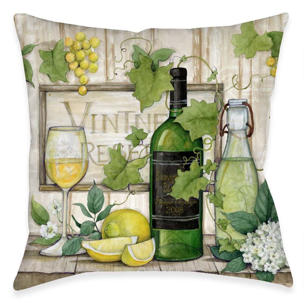Wine Vines and Lemons Outdoor Decorative Pillow