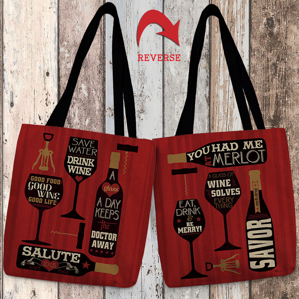 Wine Words II & III Canvas Tote Bag