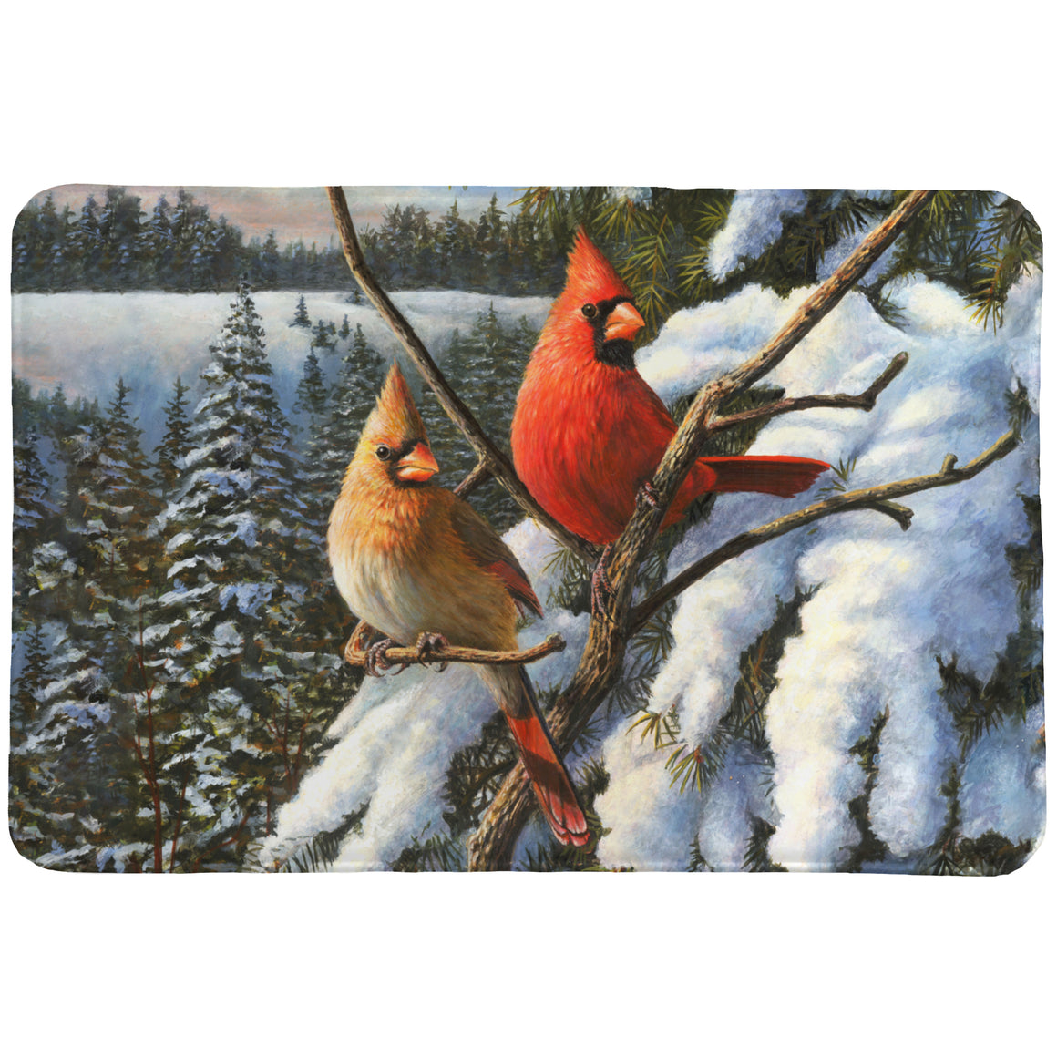 Winter Cardinal Memory Foam Rug