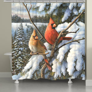 Winter Cardinal Shower Curtain