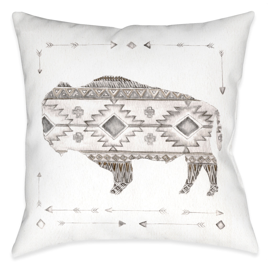 Winter Lodge Bison Indoor Decorative Pillow