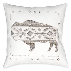 Winter Lodge Bison Outdoor Decorative Pillow