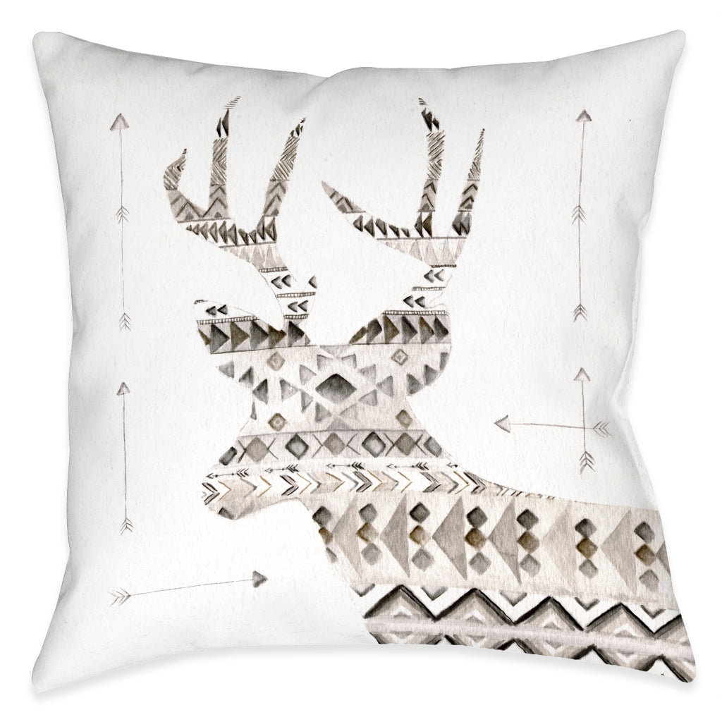 Winter Lodge Deer Outdoor Decorative Pillow