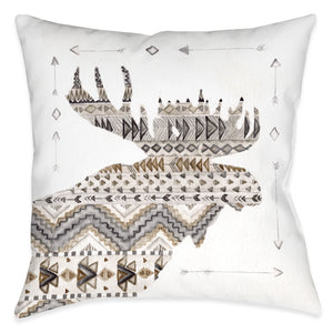 Winter Lodge Moose Outdoor Decorative Pillow