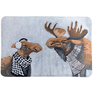 Winter Moose Memory Foam Rug