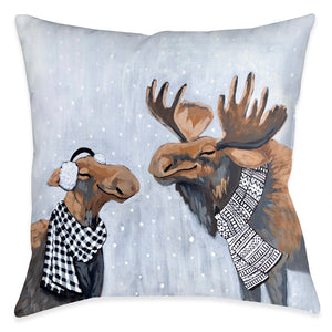 Moose Snow Day Indoor Decorative Pillow