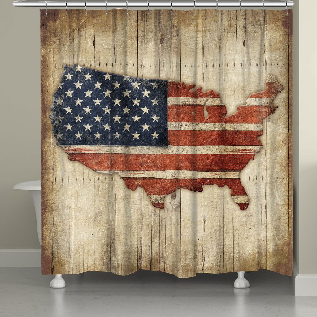 Wooden Flag Shower Curtain