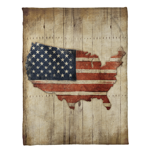 Wooden Flag Fleece Throw