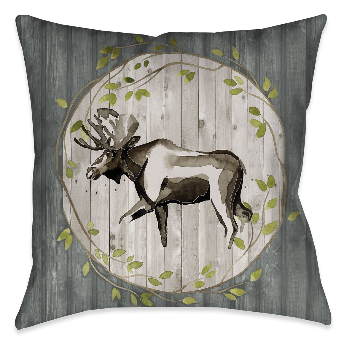 This sophisticated lodge look features a watercolor moose motif with modern design elements over a wooded texture giving it a graphic yet soft appearance. This nature-inspired pillow is sure to suit any one who has a sophisticated appreciation for nature.
