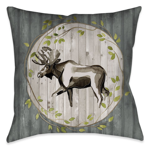 Woodland Moose Indoor Decorative Pillow