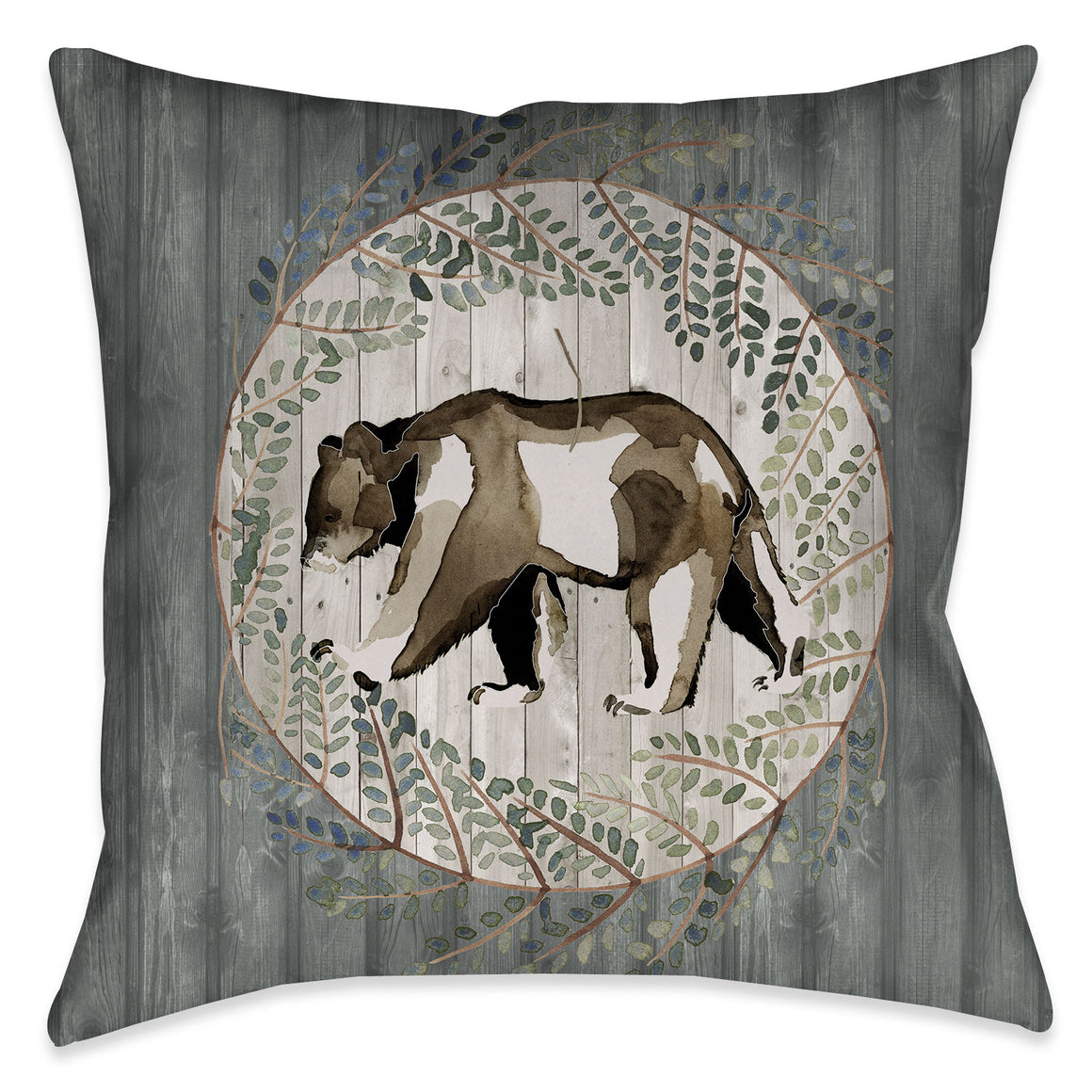 This sophisticated lodge look features a watercolor bear motif with modern design elements over a wooded texture giving it a graphic yet soft appearance. This nature-inspired pillow is sure to suit any one who has a sophisticated appreciation for nature.