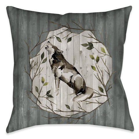 Woodland Wolf Indoor Decorative Pillow