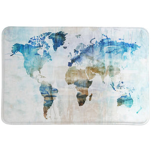 World Travelers Map Memory Foam Rug