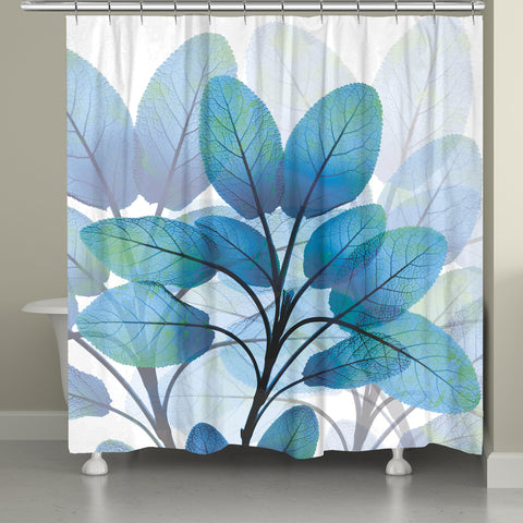 Shades of Blue X-Ray  Leaves Shower Curtain