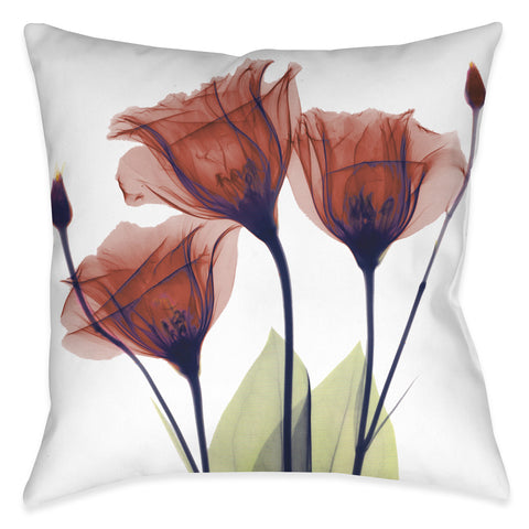 Red Gentian X-Ray Flowers Indoor Decorative Pillow