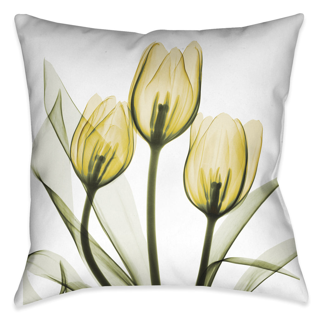 Golden X-Ray Tulips Pillow