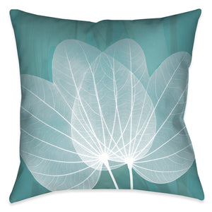 Teal Leaves Outdoor Decorative Pillow