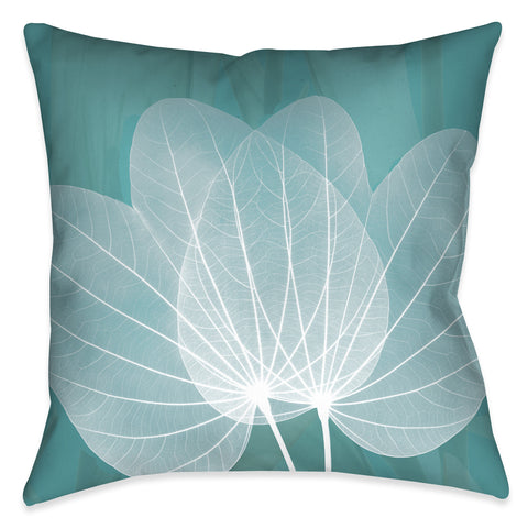 Translucent Teal X-Ray Leaves Outdoor Decorative Pillow
