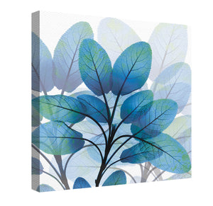 X-Ray Blue Leaves Canvas Wall Art