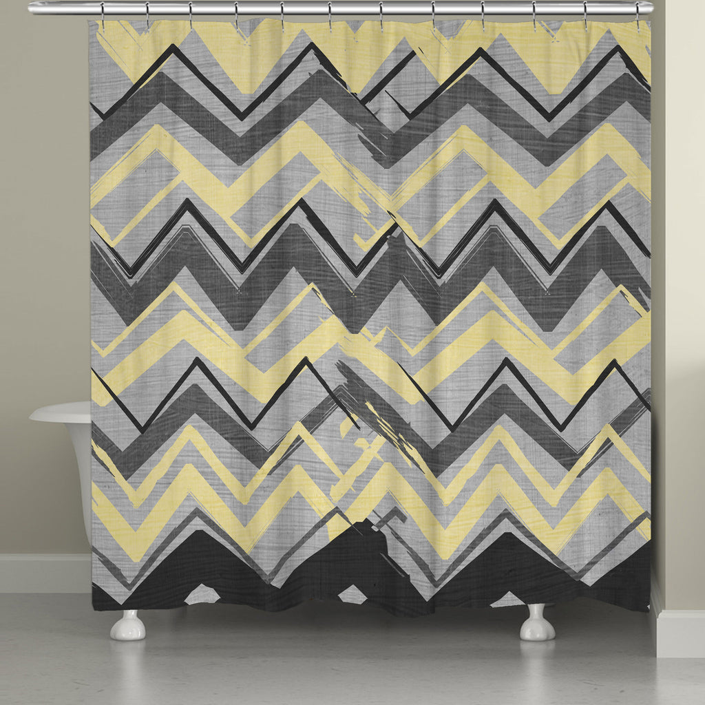 Gray And Yellow Chevron Shower Curtain Laural Home