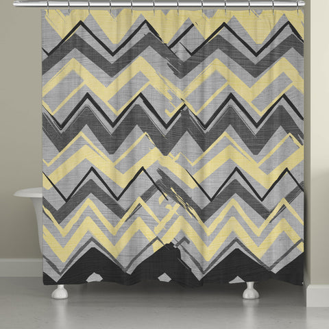 Gray and Yellow Chevron Shower Curtain