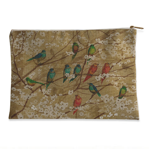 Birds and Blossoms Flat Pouch
