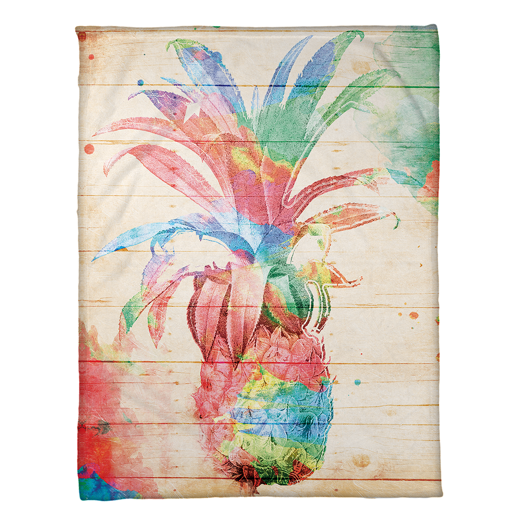 colorful pineapple fleece throw