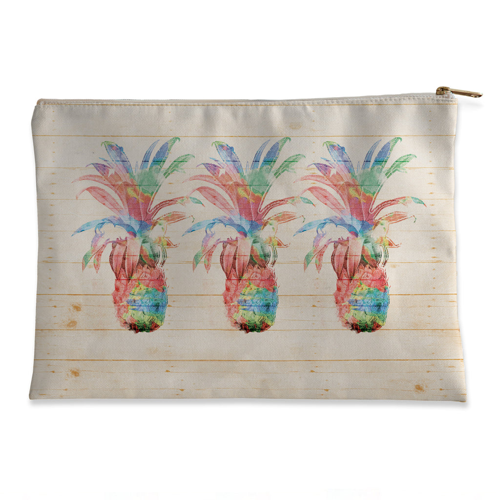 Colorful Pineapples Flat Accessory Pouch