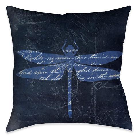 Indigo Dragonfly II Outdoor Decorative Pillow
