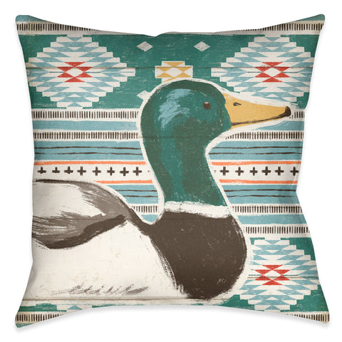 Colorful Duck III Outdoor Decorative Pillow