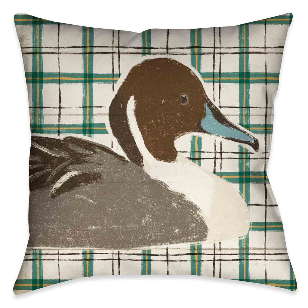 "The ""Colorful Duck IV Indoor Decorative Pillow"" series displays a unique juxtaposition of a hand painted duck profiles against different stylized patterned backgrounds."