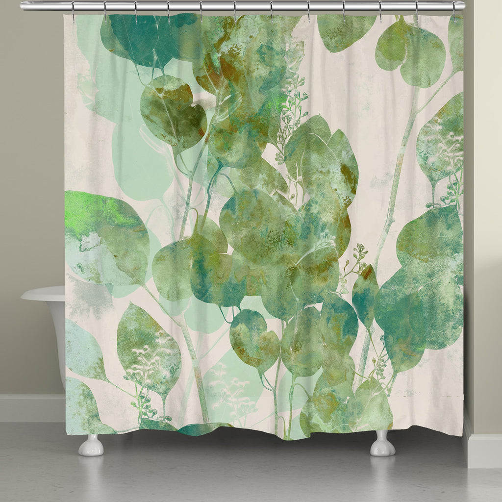 Watercolor Eucalyptus Leaves Shower Curtain