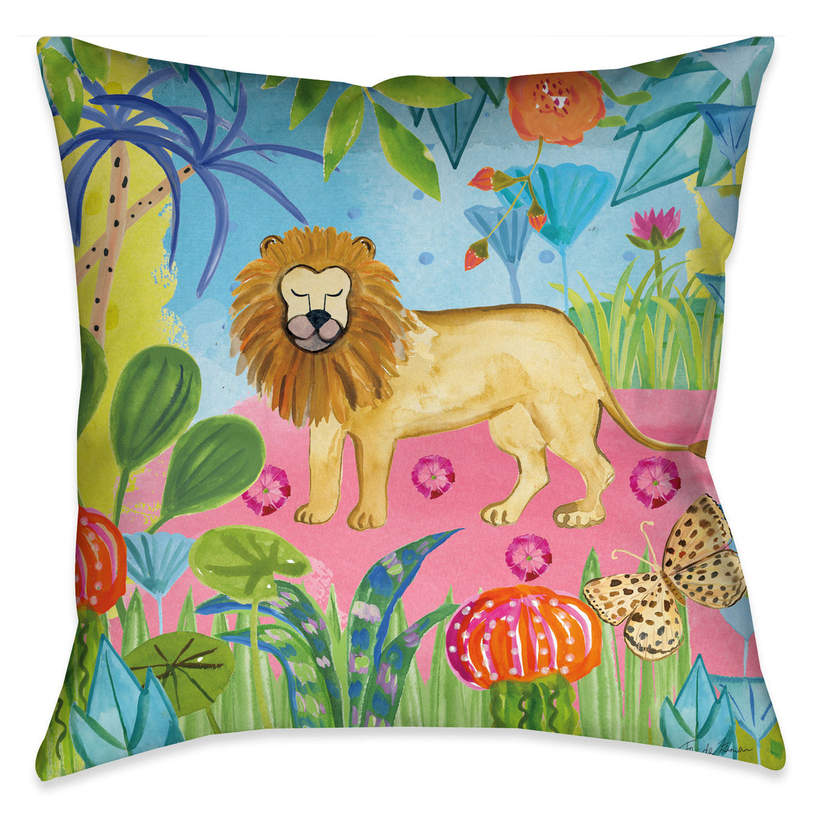 "The ""Jungle Lion Outdoor Decorative Pillow"" displays a playful scene of an lion in a colorful wild jungle."