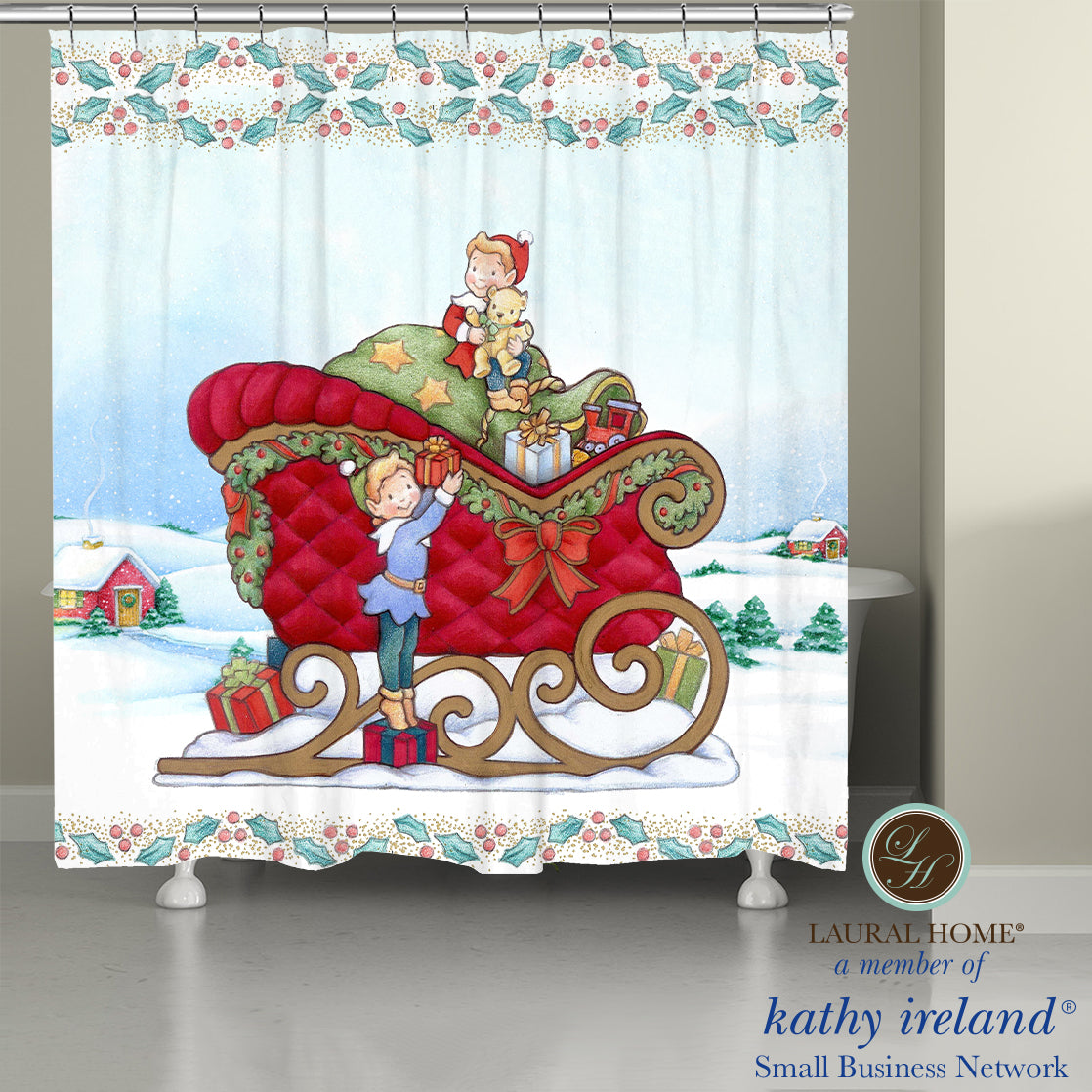 Laural Home kathy ireland®  Small Business Network Member Once Upon a Christmas Shower Curtain