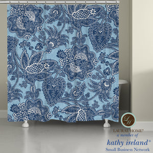 Laural Home kathy ireland®  Small Business Network Member Blue Jean Floral Shower Curtain